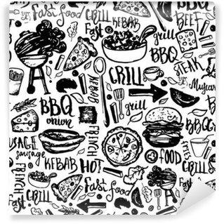 Fototapet av Vinyl -BBQ Grill klotter sömlösa mönster. Färgrik BBQ design med handritad bokstäver för förpackning, banderoller och marknadsföring.