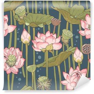 Fototapet av Vinyl Blommande lotus sömlösa