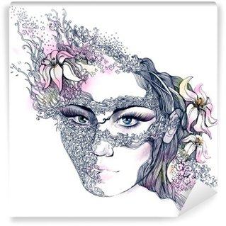 Fototapet av Vinyl Blommig dekorerat ansikte