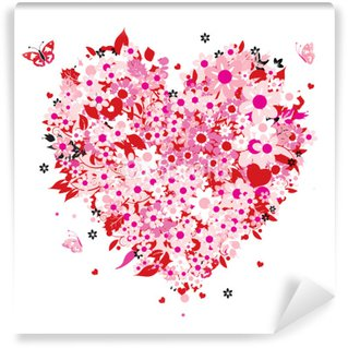 Fototapet av Vinyl Blommor hjärta form