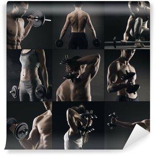 Fototapet av Vinyl Bodybuilding bild collage