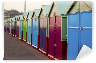 Fototapet av Vinyl Bright Beach Huts på Brighton Beach