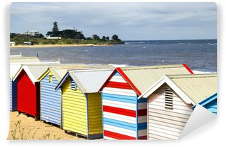 Fototapet av Vinyl Cabanes de plage colorées - Brighton Beach - Melbourne