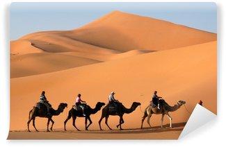 Fototapet av Vinyl Camel Caravan i Saharaöknen