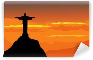 Fototapet av Vinyl Christ The Redeemer & solnedgång landskap - vektor