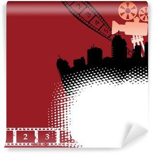 Fototapet av Vinyl Cinema tema med filmprojektor och filmremsa
