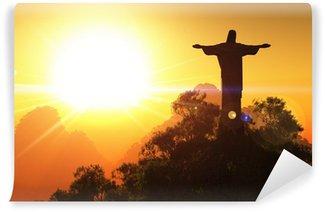 Fototapet av Vinyl Corcovado Mountain i solnedgången 3D framför