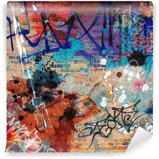Fototapet av Vinyl En Messy Graffiti Wall Bakgrund