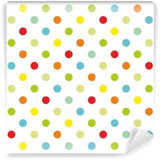 Fototapet av Vinyl Färgrik polka dots vit bakgrund sömlösa vektor mönster