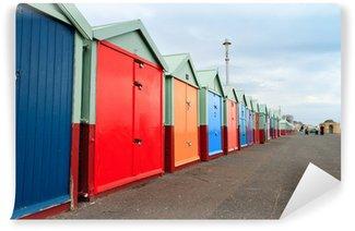 Fototapet av Vinyl Färgstarka stranden hyddor längs Brighton Beach (Storbritannien)