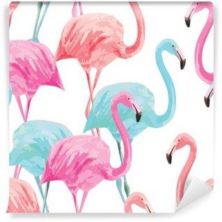 Fototapet av Vinyl Flamingo vattenfärg mönster