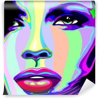 Fototapet av Vinyl Flicka stående Psychedelic Psychedelic Rainbow-Face Girl