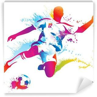 Fototapet av Vinyl Fotbollsspelare sparkar bollen. Den färgglada vektor illustration