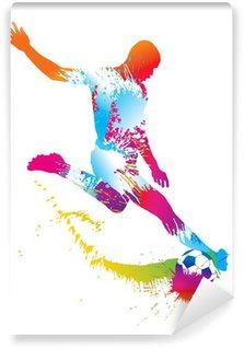 Fototapet av Vinyl Fotbollsspelare sparkar bollen. Vector illustration.