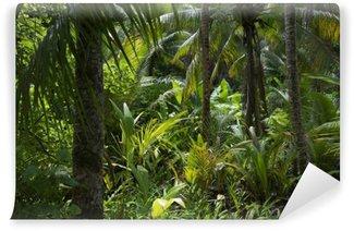 Fototapet av Vinyl Frodig tropisk djungel Rain Bakgrund