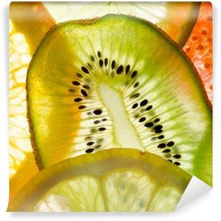 Fototapet av Vinyl Frukt mix (fikon, lime, citron, apelsin, kiwi)