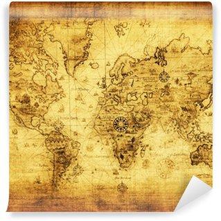 Fototapet av Vinyl Gammelt kart over verden.