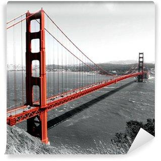 Fototapet av Vinyl Golden Gate-bron röd Pop på B
