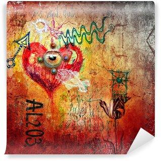 Fototapet av Vinyl Graffiti med rött hjärta