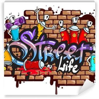 Fototapet av Vinyl Graffiti ordtecken komposition