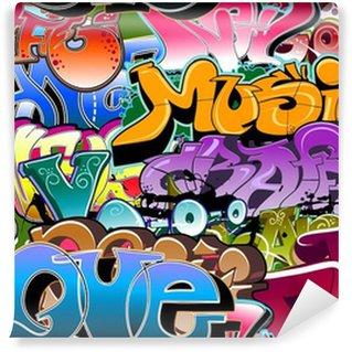Fototapet av Vinyl Graffiti sömlös bakgrund. Hip-hop konst