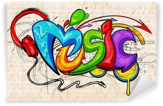Fototapet av Vinyl Graffiti stil Musik bakgrund