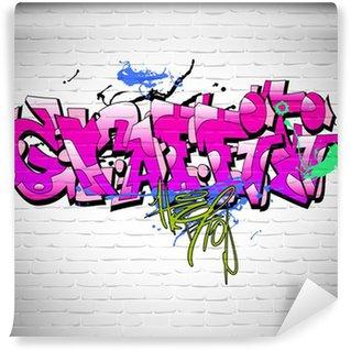 Fototapet av Vinyl Graffiti vägg bakgrund, urban konst