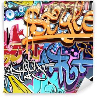 Fototapet av Vinyl Graffiti vägg. Urban art vektor bakgrund. Sömlös textur