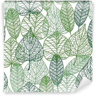 Fototapet av Vinyl Gröna blad sömlösa mönster