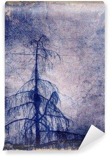 Fototapet av Vinyl Grunge bakgrund med lärk träd
