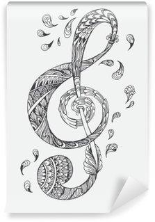 Fototapet av Vinyl Handritade musik nyckel med etniska prydnader klotter mönster. Vektor illustration Henna Mandala Zentangle stiliserade för bokomslag eller kort, tatuering mer. Design för andlig avkoppling för vuxna.