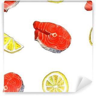 Fototapet av Vinyl Havsöring fisk med citron. Handgjorda akvarell illustration på ett vitt papper konstbakgrund