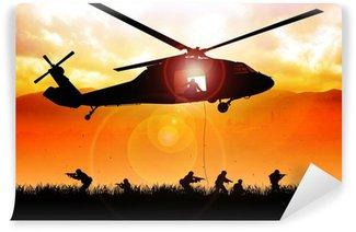 Fototapet av Vinyl Helikopter sjunker trupperna