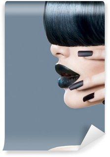 Fototapet av Vinyl High fashion modell flicka porträtt med trendig frisyr