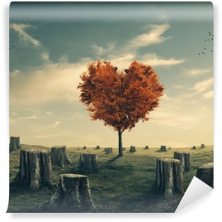 Fototapet av Vinyl Hjärtformad träd i rensas skog