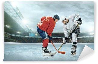Fototapet av Vinyl Ishockeyspelare på isen. Öppen stadion - Winter Classic spel