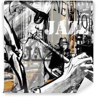 Fototapet av Vinyl Jazz trumpet spelare i en gata i New York
