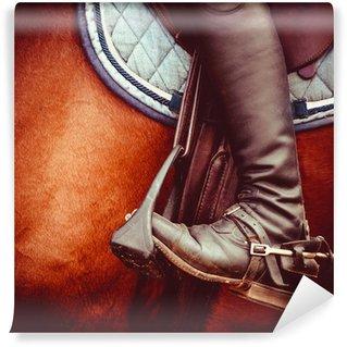 Fototapet av Vinyl Jockey ridstövel, hästar sadel och stigbygeln