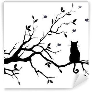 Fototapet av Vinyl Katt på ett träd med fåglar, vektor