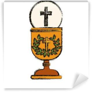 Fototapet av Vinyl Korsa och kopp ikon. Religion gud ber tro och tro tema. Isolerad utformning. vektor