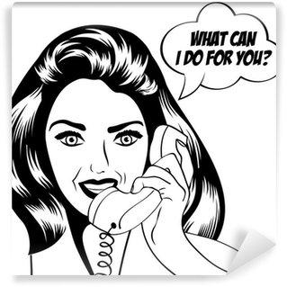 Fototapet av Vinyl Kvinna att prata i telefon, pop konst illustration