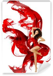 Fototapet av Vinyl Kvinna dansar i röd klänning, modell vinka dans