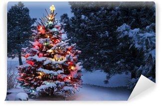 Fototapet av Vinyl Ljus belysning Snötäckt Holiday Christmas Tree Winter Storm