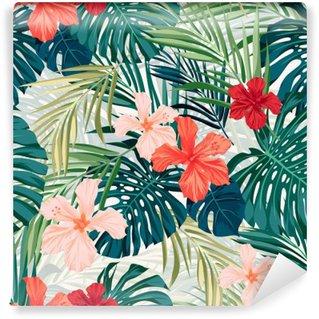 Fototapet av Vinyl Ljusa färgglada tropisk sömlös bakgrund med blad och