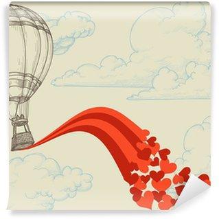Fototapet av Vinyl Luftballong flygande hjärtan romantisk koncept