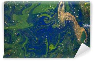 Fototapet av Vinyl Marmorerad blå abstrakt bakgrund. Flytande marmor mönster. Marmorering akryl textur