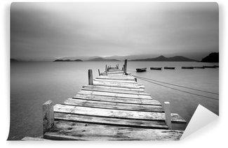Fototapet av Vinyl Med utsikt över en brygga och båtar, svart och vitt