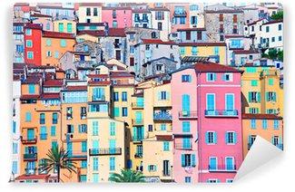 Fototapet av Vinyl Menton pastellfärger hus, Cote d Azur, Frankrike