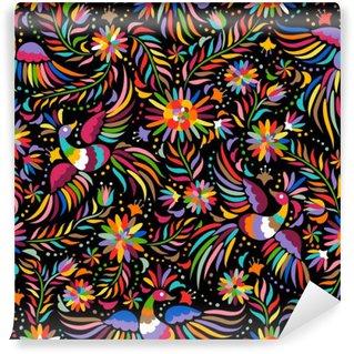 Fototapet av Vinyl Mexikanska broderi seamless. Färgstarka och utsmyckade etniska mönster. Fåglar och blommor mörk bakgrund. Blommig bakgrund med ljusa etnisk prydnad.
