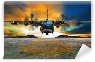 Fototapet av Vinyl Militärt plan landar på flygvapen banor mot vackra dus